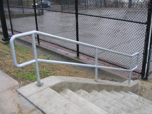 Galvanized pipe railing with chain  Galvanized pipe railing. Allegheny Fence  Railings
