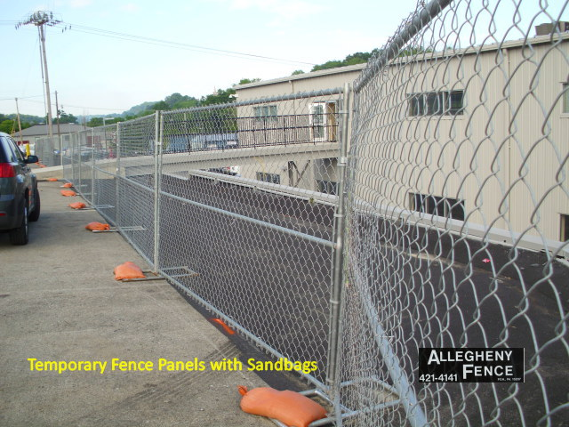 Temporary Fence Panels with Sandbags