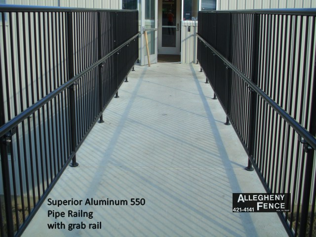 Superior Aluminum 550 Pipe Railing with Grab Rail