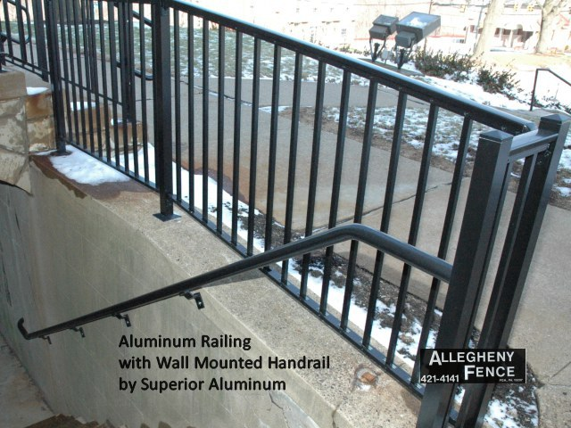 Aluminum Railing with Wall Mounted Handrail by Superior Aluminum