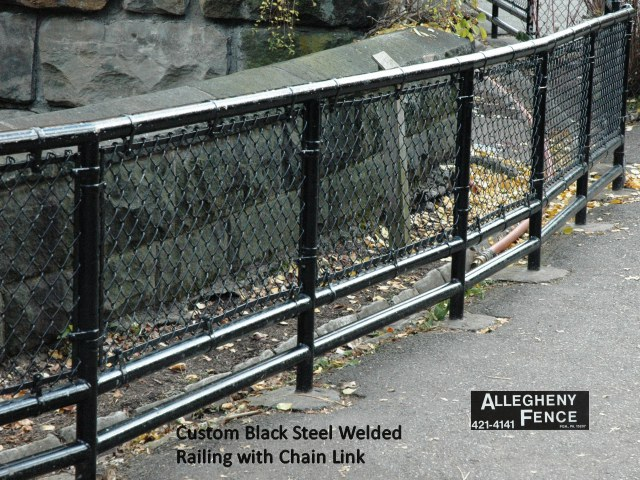 Custom Black Steel Welded Railing with Chain Link