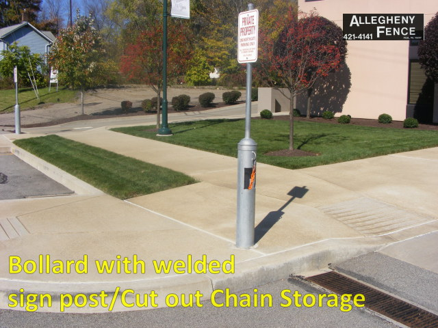 Bollard with Welded Sign Post/Cut out Chain Storage