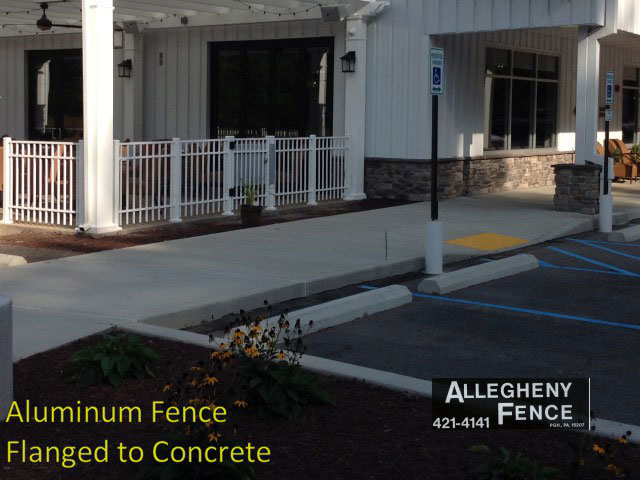 Aluminum Fence Flanged to Concrete