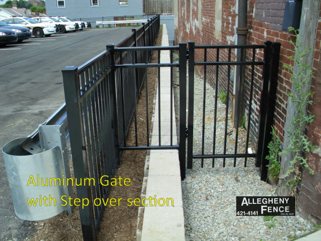 Aluminum Gate with Step Over Section