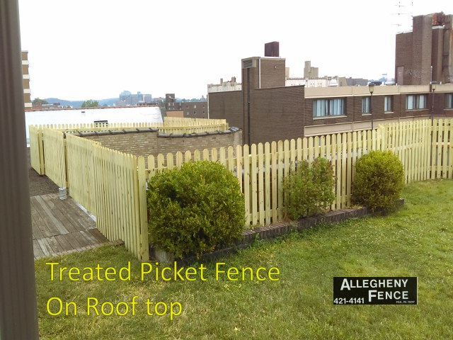 Treated Picket Fence on Roof Top