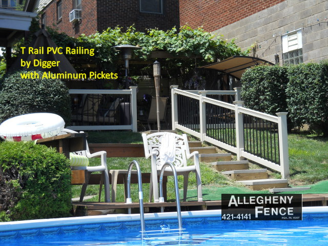 T Rail PVC Railing by Digger with Aluminum Pickets
