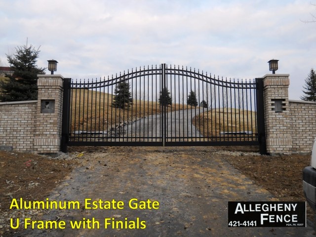 Aluminum Estate Gate U Frame with Finials