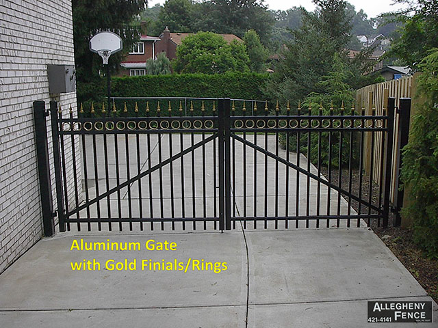 Aluminum Gate with Gold Finials/Rings