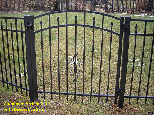 Aluminum Arched Gate with Decorative Scroll