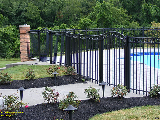 Arched Aluminum Gate with Rings